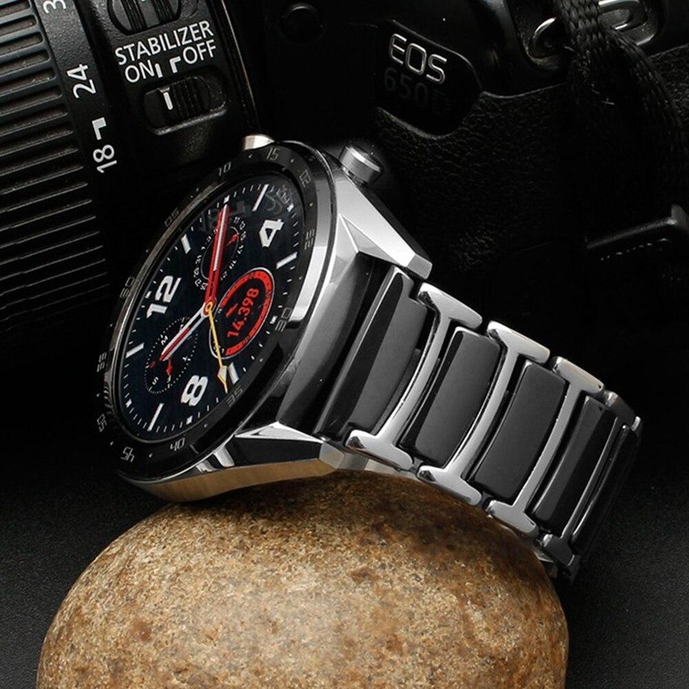 Pulseira de Aço Cerâmica para Relógio Frontier de 20mm 2 e Pulseira Gear Inoxidável Samsung Galaxy 46mm Huawei Ver gt 2 e s3 22mm