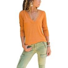 T Shirt Women V-Neck T-shirts Female Casual Tops Long Sleeve Tshirt Ladies Offic