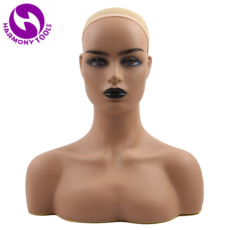 HARMONY 1 Piece Realistic Half Body PVC Training Mannequin Head With Double Shoulders for Display Wigs Hat Jewelry Wig Stand
