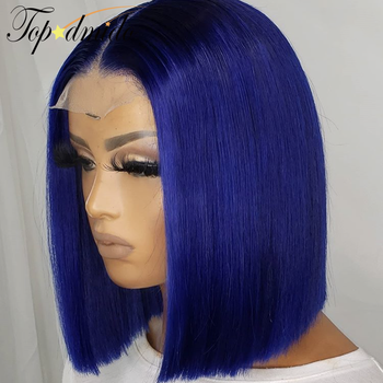 TOPODMIDO Blue Color Bob Cut Wigs For Women Peruvian Remy Hair 4x4 Closure Wigs with Baby Hair 13X1X6 Lace Front Human Hair Wigs 4
