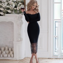 VC 2020 All Free Shipping New Chic Lace Patchwork Sexy Off The Shoulder Long Sleeves Celebrity Party Bandage Dress