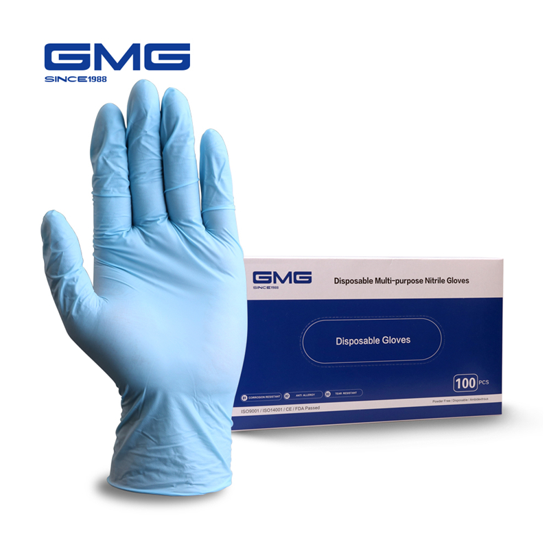 100pcs Nitrile Gloves GMG Blue Food Grade Waterproof Allergy Free Disposable Work Safety Gloves Mechanic Laboratory Gloves