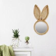 Miroir de maquillage suspendu au mur en rotin, fait à la main, décoratif, en oreilles de lapin, pour la décoration de la maison, 22X16X42cm