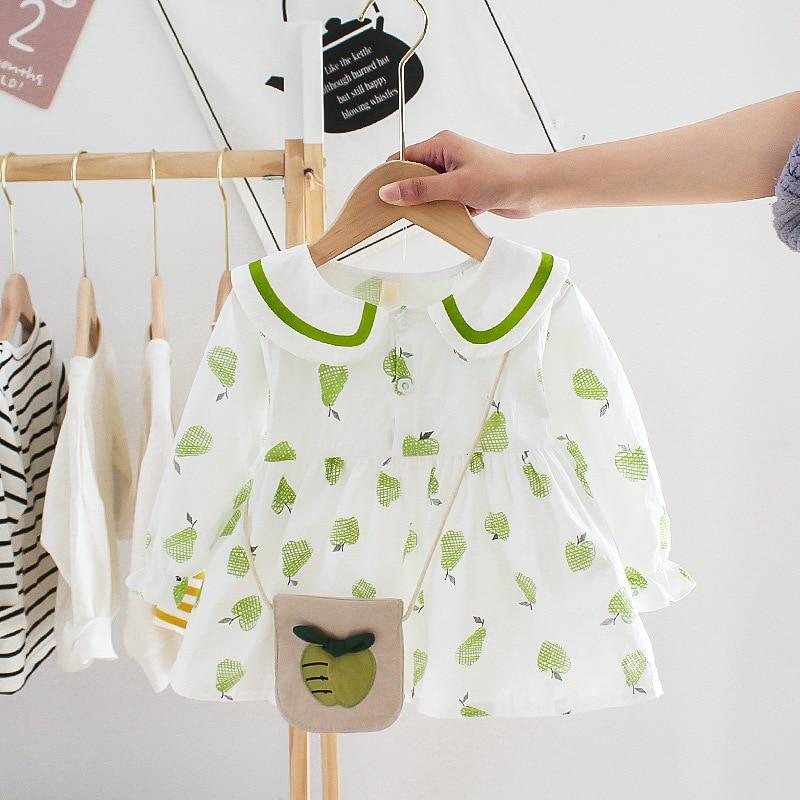 Детское платье принцессы с длинным рукавом, красное, зеленое, с принтом груши