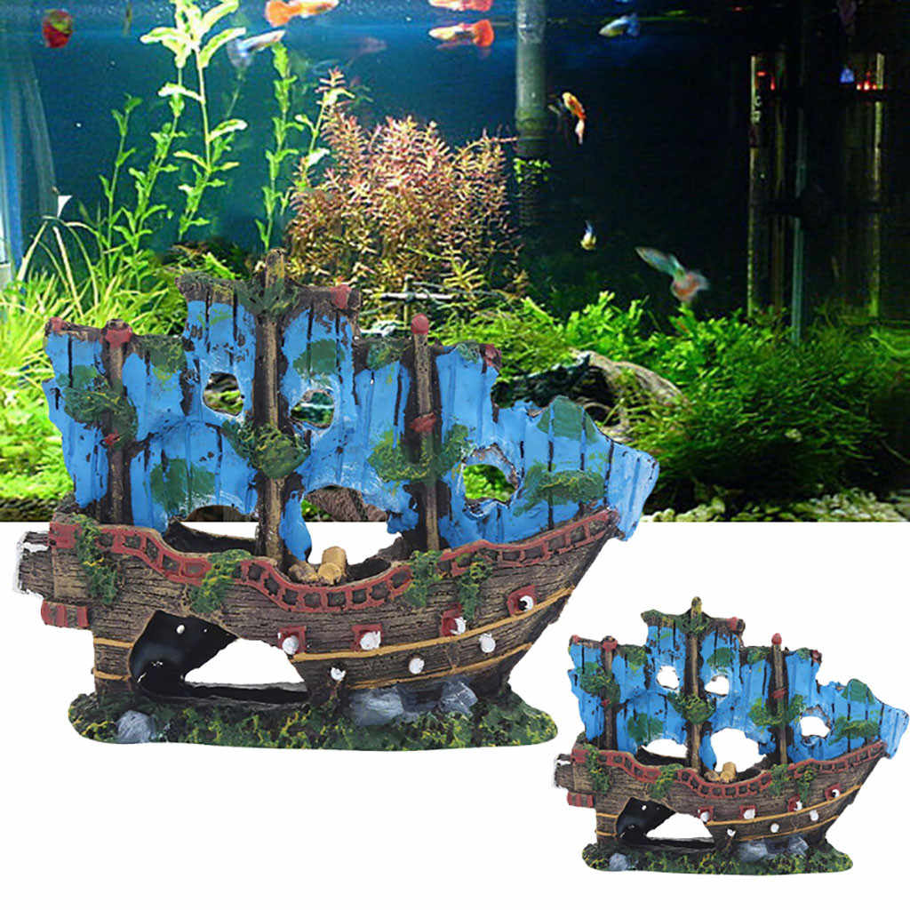 Resin Home Aquarium Ornament Wreck Sunk Ship Fish Tank Landscape Pirate Ship Sailing Boat Destroyer Fish Aquarium Decoration