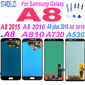 AAA+ For Samsung A8 2015 2016 A800 lcd display A8000 LCD A8100 A810 Display A8 Plus A8+ 2018 A730 LCD Touch A530 A530F Replace