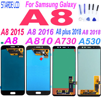 AAA+ For Samsung A8 2015 2016 A800 lcd display A8000 LCD A8100 A810 Display A8 Plus A8+ 2018 A730 LCD Touch A530 A530F Replace цена 2017