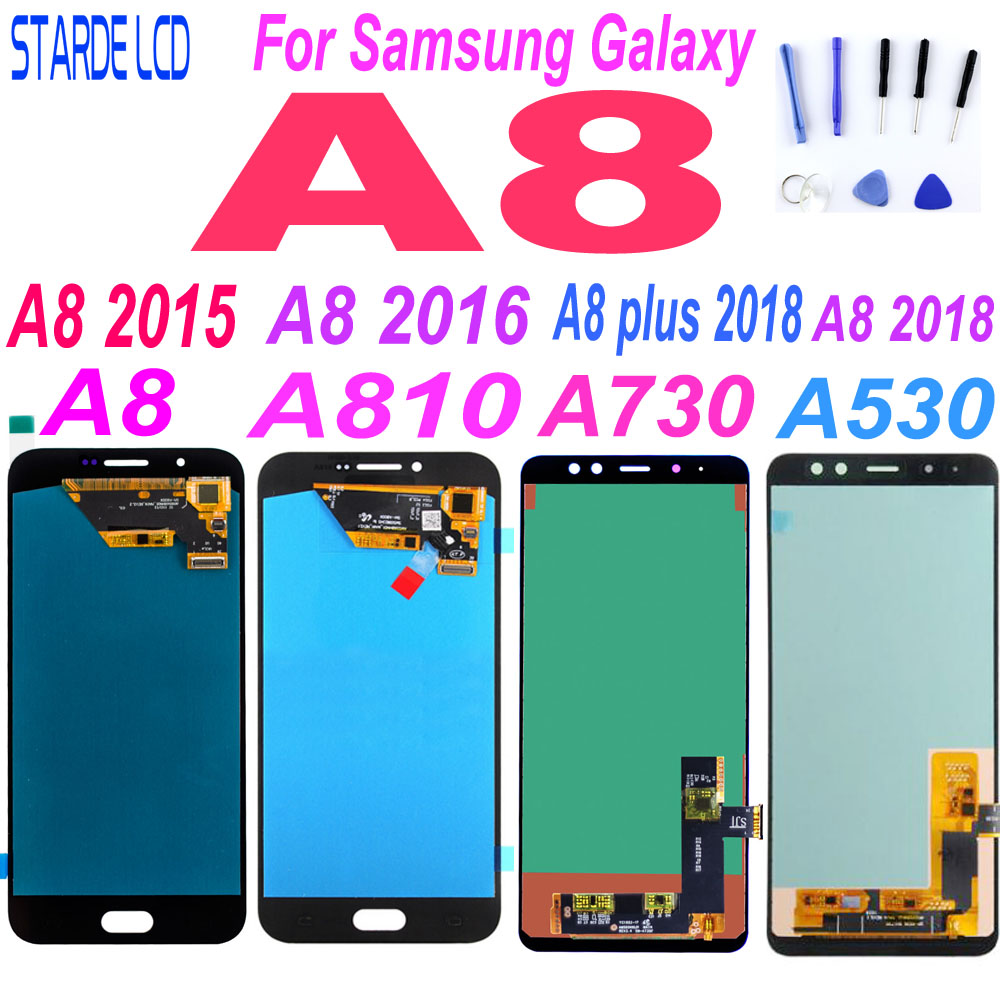 AAA+ For <font><b>Samsung</b></font> A8 2015 2016 A800 <font><b>lcd</b></font> display A8000 <font><b>LCD</b></font> A8100 <font><b>A810</b></font> Display A8 Plus A8+ 2018 A730 <font><b>LCD</b></font> Touch A530 A530F Replace image