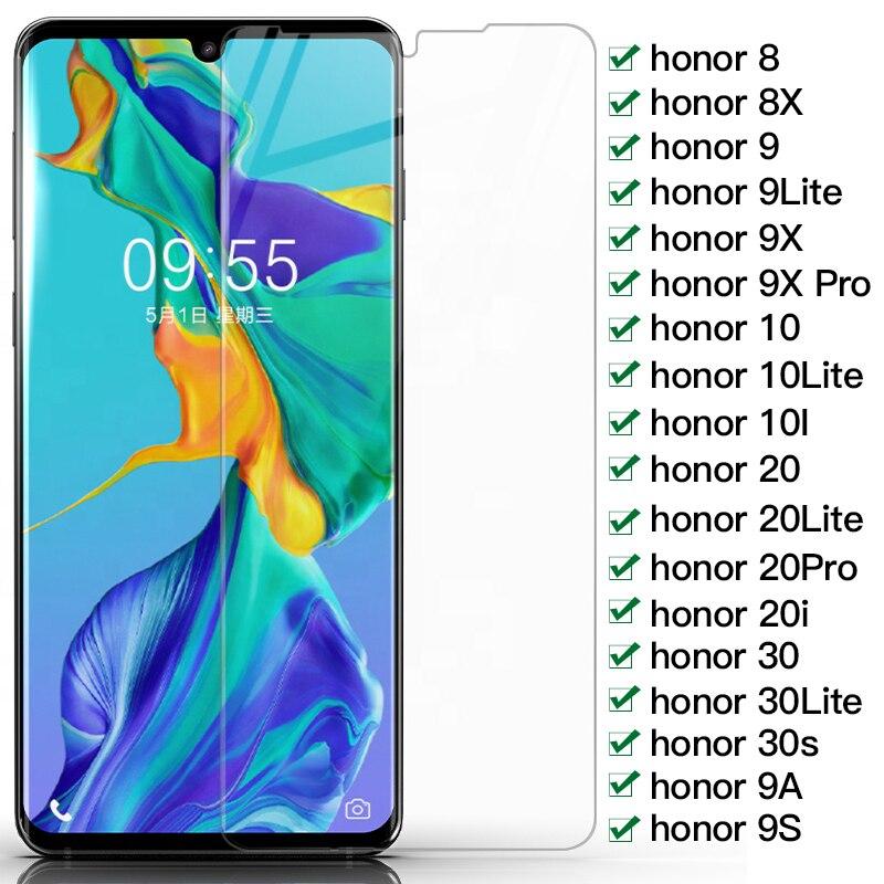 9h proteção de vidro para huawei honor 8 8x9 9x pro 9a 9s temperado protetor de tela vidro honra 10 20 30 lite 30s filme de vidro