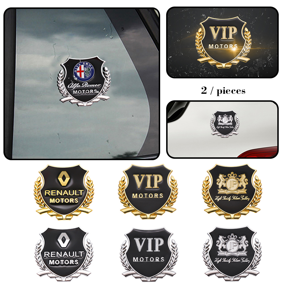 2pcs 3D Metal Car Styling Side Door Badge Stickers Side Window Emblem Decals For Mitsubishi Subaru Volvo Alfa Romeo Audi BMW VW