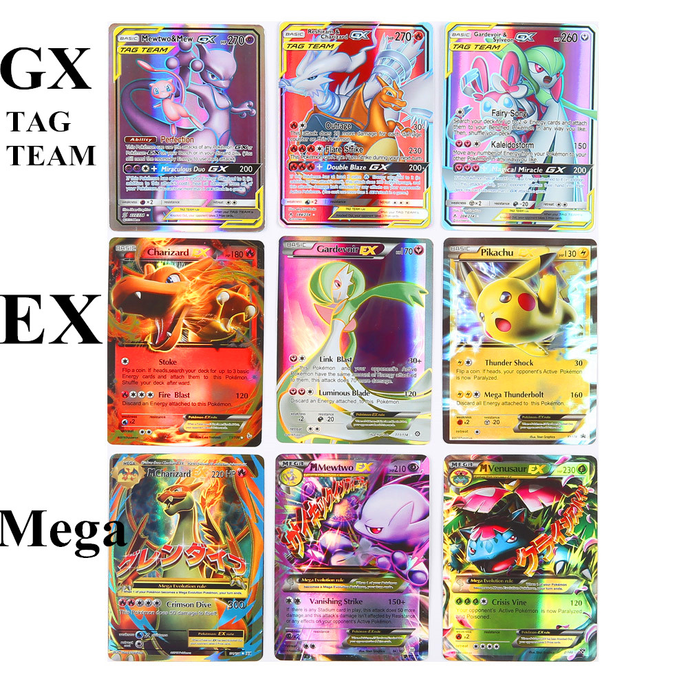 60pcs Series Pokemones Cards GX MEGA TAG TEAM EX TAKARA TOMY CARD Game Battle Card