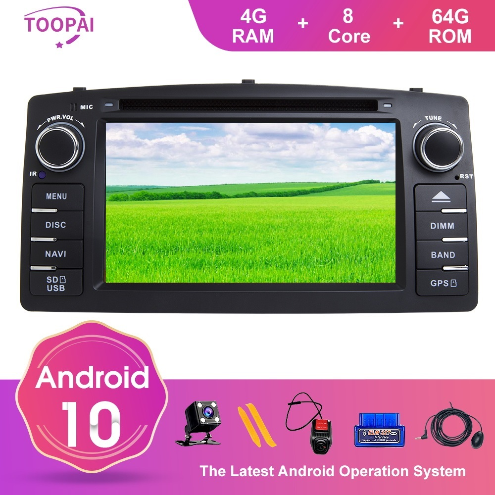 TOOPAI Android 10 For Toyota <font><b>Corolla</b></font> <font><b>E120</b></font> Altis <font><b>E120</b></font> 2000-2006 BYD F3 Car Multimedia Navi GPS DVD Media Player Radio SWC DVD CD image