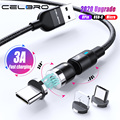 Fast Charging 3A 2m Usb Cable 3 In 1 Type C Magnetic Magnetique Charge Cabel For Samsung S20 Note 10 Huawei P40 Xiaomi 540°