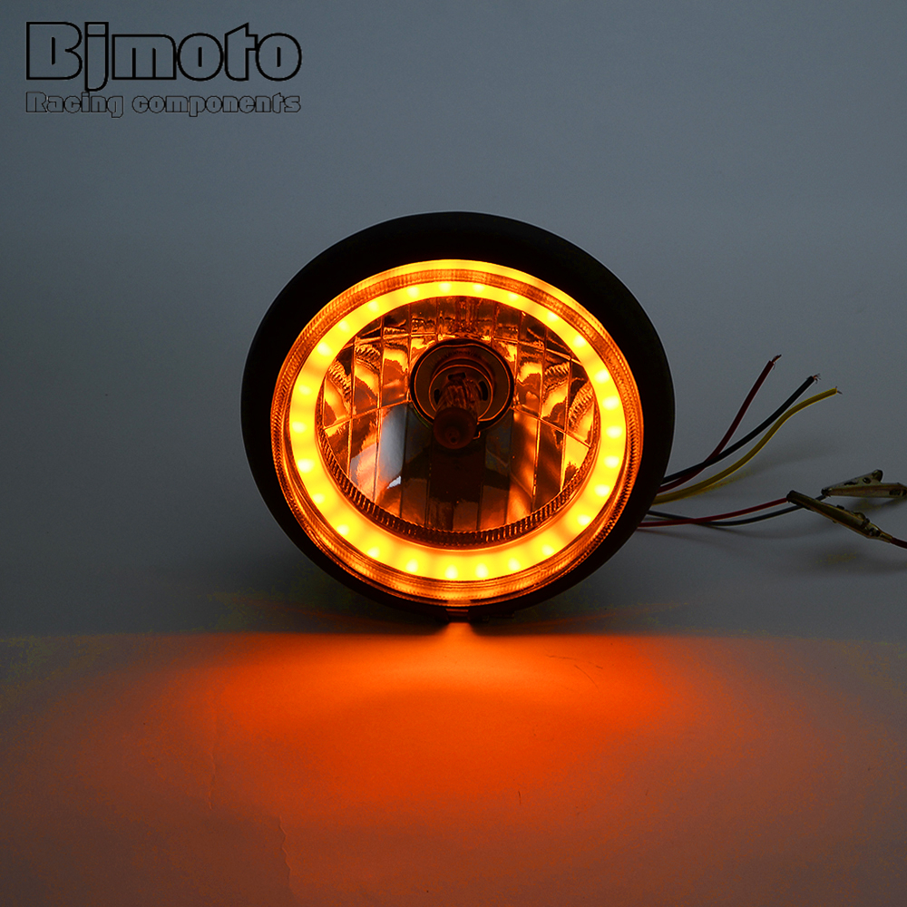 Black Motorbike Headlight with LED Halo Ring 6.5 inch dia 12V 35W