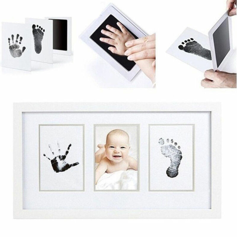 Hot Newborn Footprint HandprintBaby Souvenir Paw Print Pad Photo Frame Pad Inkless Wipe Baby Kit-Hand Foot Print Keepsake