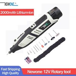 Image 1 - Newone Kit doutils rotatifs, Lithium Ion sans fil 12V, Mini perceuse électrique avec Six vitesses, réglable outil rotatif Dremel portable