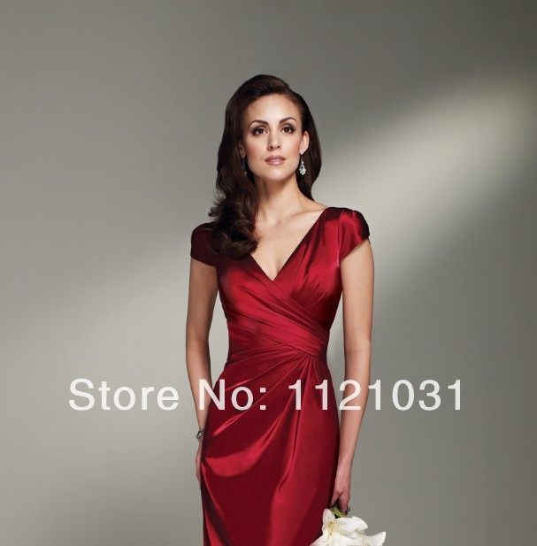 2019 New Red Elegant Sheath V Neck Cap Sleeve Taffeta vestido de noiva cheap short Mother of the Bride Dresses Custom-made