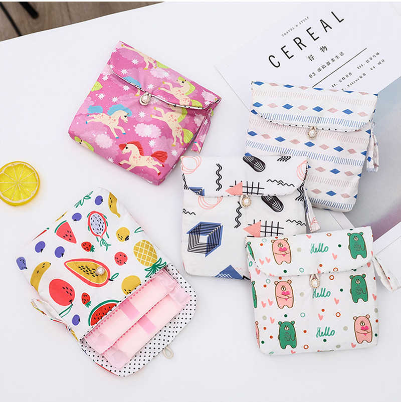 Larg Capacity Cotton Women Girl Sanitary Pad Organizer Purse Holder Napkin Storage Bags Cosmetic Pouch Case sanitary napkin bag