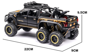 Image 5 - 1:32 Big Pick Up Model Toy Car For Ford F150 Raptor Sound Light Sliding Car With Motorcycle For Kids Toys Gifts Free Shipping