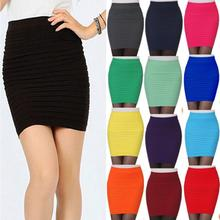 Ladies Fashion Sexy Clubwear Tight Pencil Pleated Tuck Bodycon Mini Short Skirt