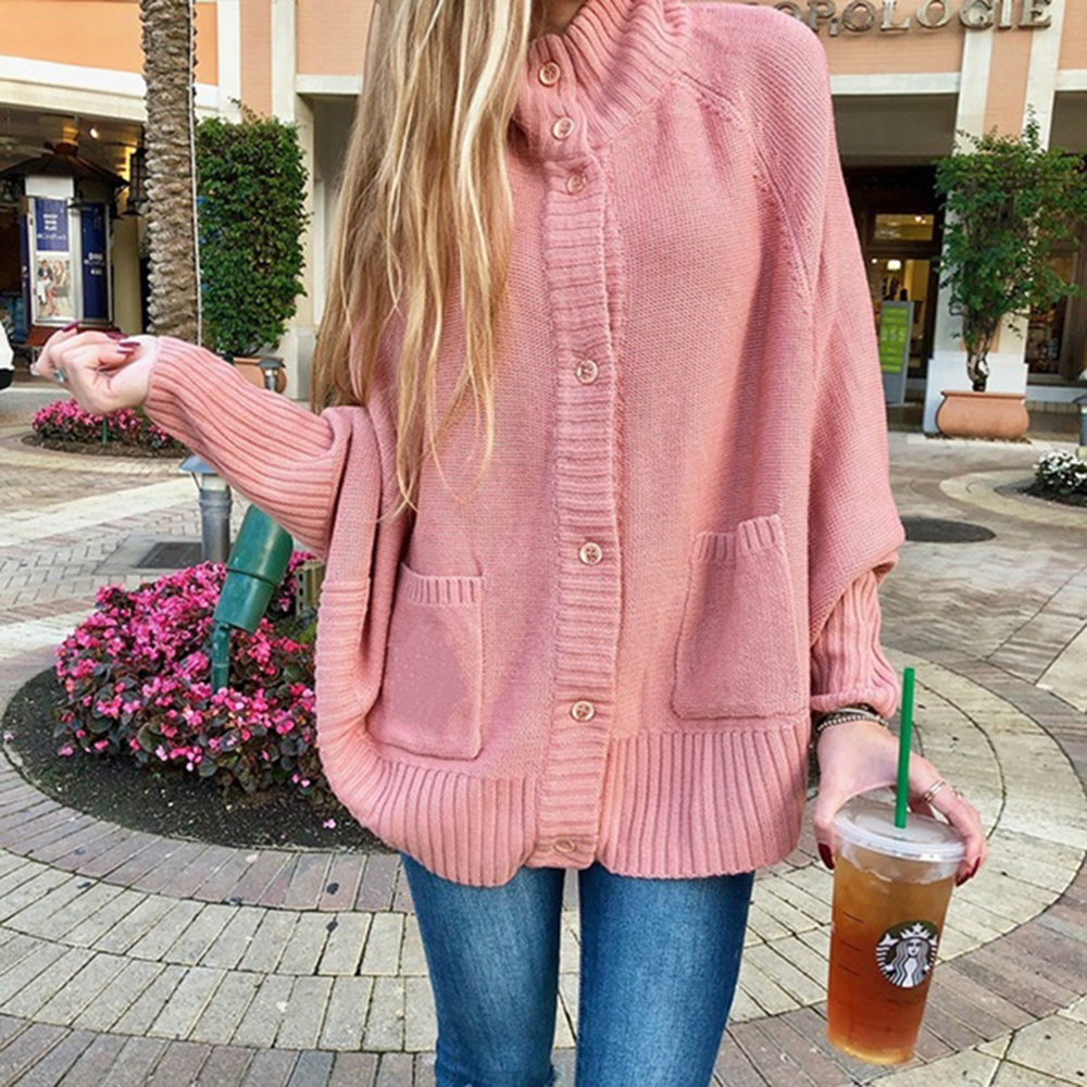 Plus Size Autumn Winter Women Pink Cardigan Sweaters Casual Loose Single Breasted Batwing Sleeve Knitted Oversized Sweater Coats