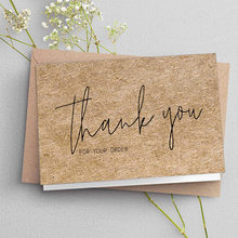30pcs natural kraft paper thank you card small shop small business Thank you for ordering business card gift decoration card