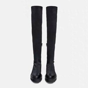Image 2 - 2020 Slim למתוח לייקרה הברך גבוהה מגפי פלטפורמת חורף מגפי נשים ארוך מגפי חורף נעלי נשים גרב מגפי מעל את הברך מגפיים