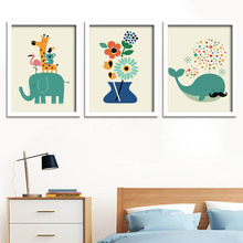 Cartoon Animal Poster Nordic Wall Art Picture Kids Room Decor Painting,no Frame