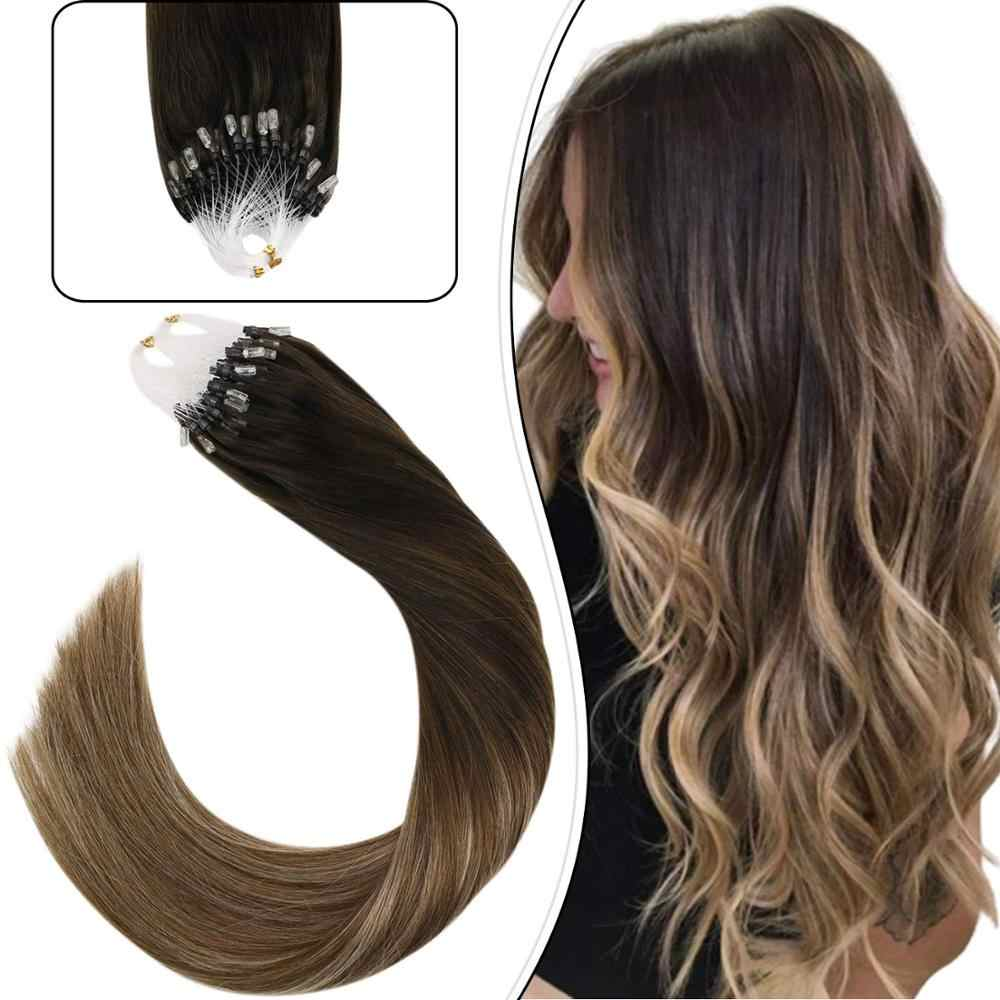 "Ugeat Pre-bonded Hair Extensions 14-24"" Remy Hair Extensions Highlight Brown Color Micro Ring Hair Extensions 1g/1s 50g/50s"
