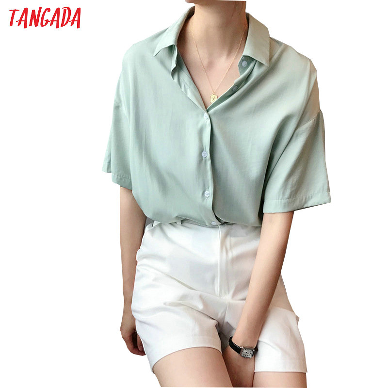 Tangada Women Summer Shirts Short Sleeve Solid Elegant Office Ladies Work Wear Blouses High Quality ASF10
