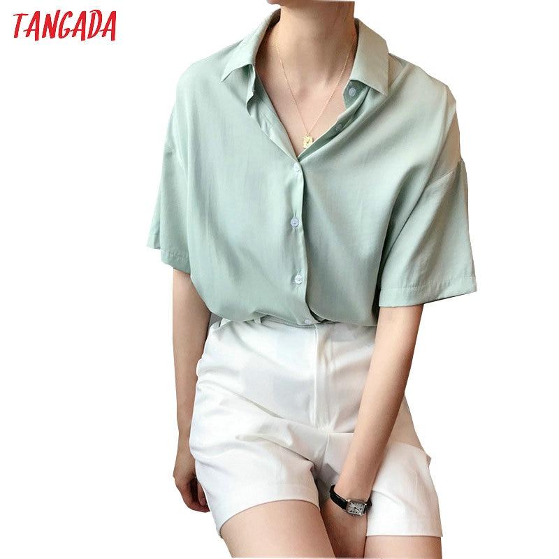 Tangada Women Summer Shirts Short Sleeve Solid Elegant Office Ladies Work Wear Blouses High Quality ASF10