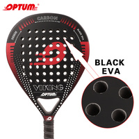 OPTUM VIKING Carbon Fiber Padel Racket Black EVA Core Padel with Cover Bag