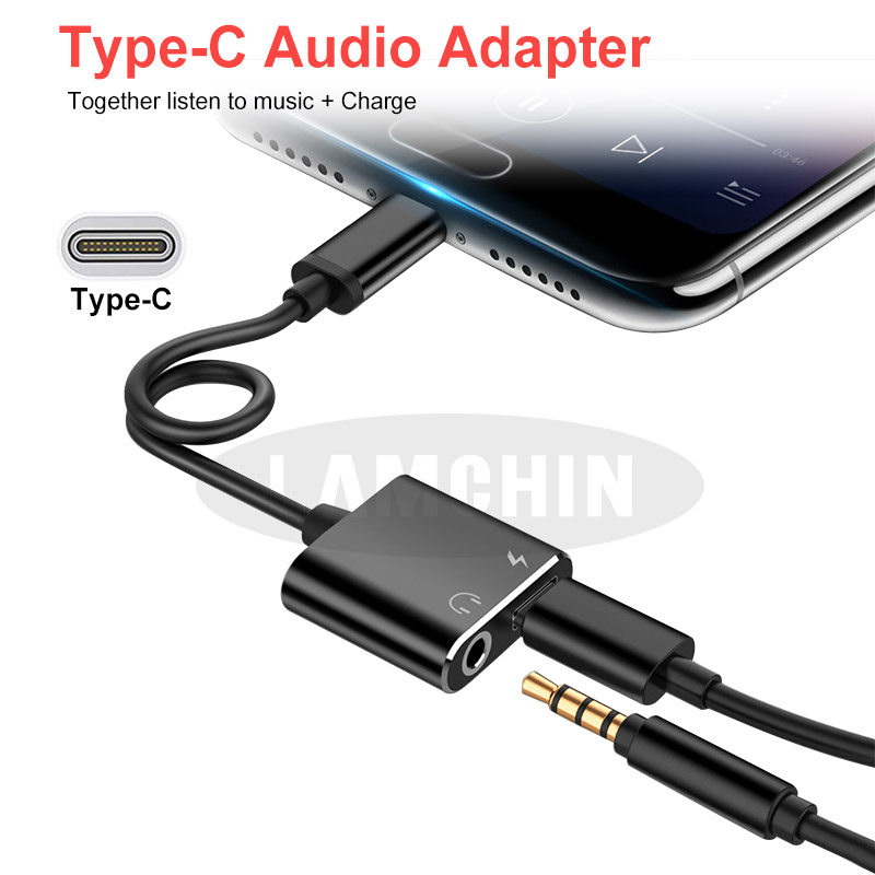 Type C 3.5mm AUX Adapter Earphone Extension Cable Two In One Type-C Earphone Audio Adapter To 3.5mm Song Call Charging Adapter