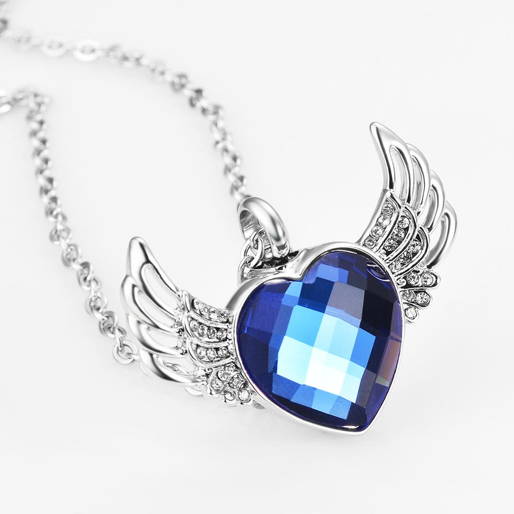 Angel Wings Love Heart Cremation Urn Necklace Memorial Jewelry for Ashes Urn Locket Pendant for Women