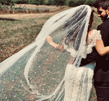 Peorchid 2020 branco/marfim véu catedral casamento véu 3 m/5 m com pente uma camada grânulo pérola véu acessórios de noiva velo da sposa