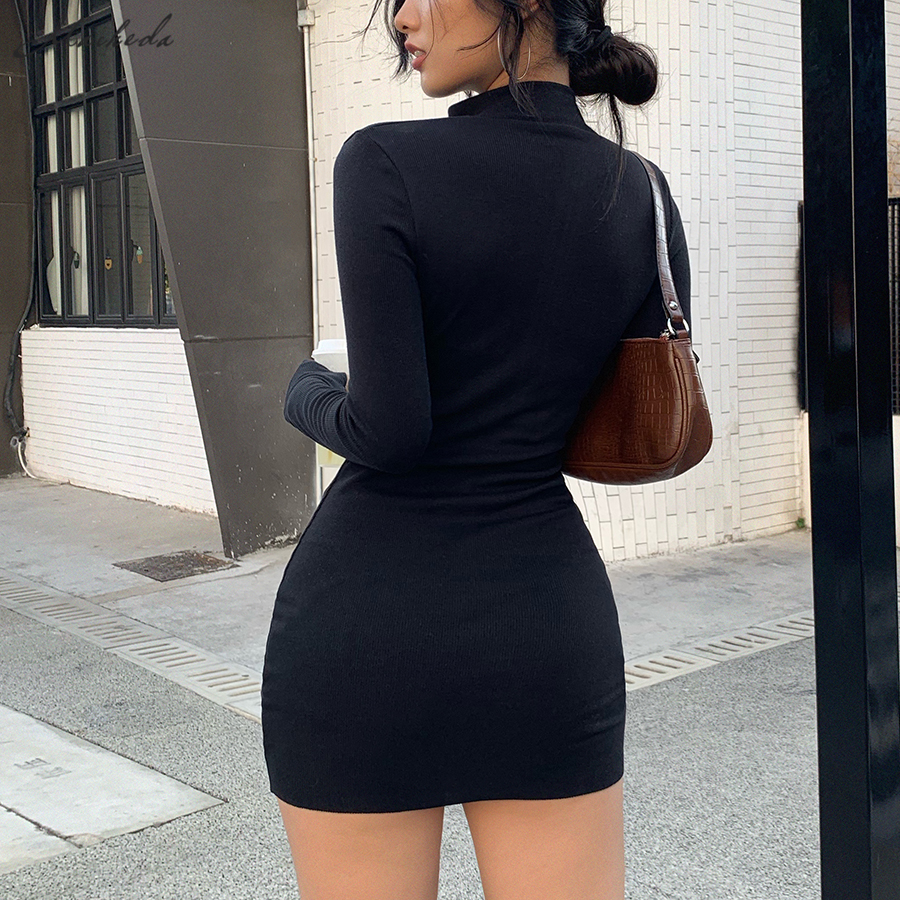 Stretch Slim Soft Ribbed Knitted Turtleneck Dress Woman Fashion Solid Black Casual Bodycon - dresses
