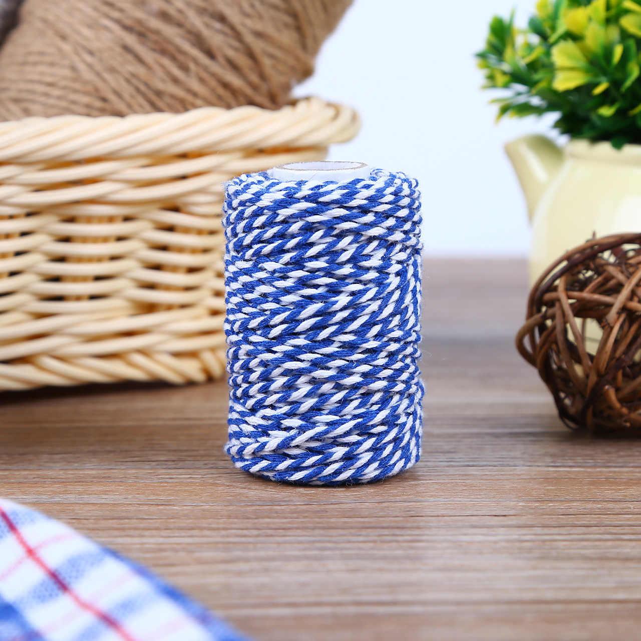 Diy trançado cordões presente embalagem acessórios decoração festa de casamento embalagem dupla cor algodão padeiro corda