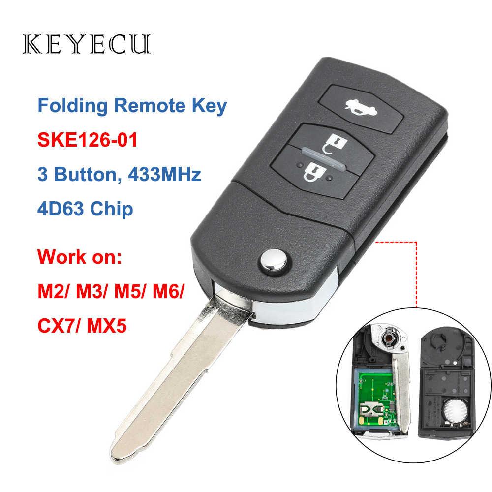 con 3 botones Llave con mando a distancia plegable de coche de Katur de 433/MHz para Ford con chip 4D-63