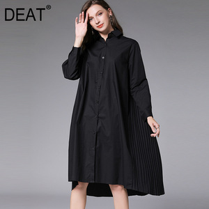 DEAT 2020 New Fashion Large Size XL-4XL Women's Shirt Dress Full Sleeve Lapel Pleated Back Knee Length Loose Wild Cloth AQ746