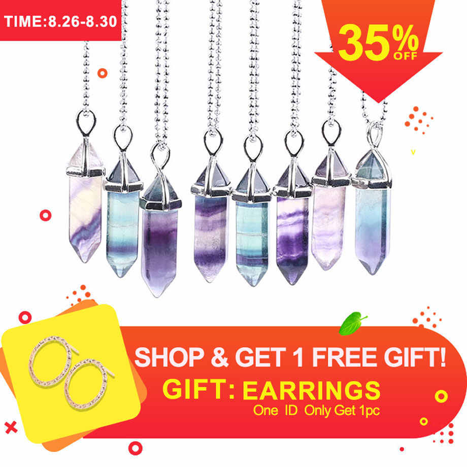 CSJA Fluorite Necklaces Crystal Pendants Natural Gem Stone Quartz Bullet Hexagonal Pendulum Reiki Chakra Suspension Jewelry E546
