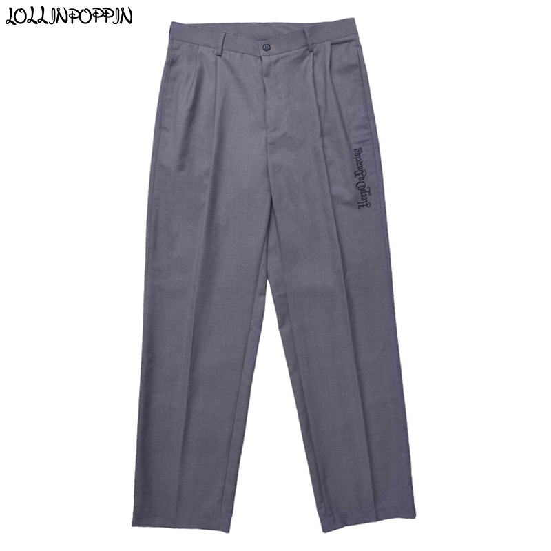 Hip Hop Men Gray Poppin Pants Street Dance Mens Grey Trousers Front Pleated Popping Pants