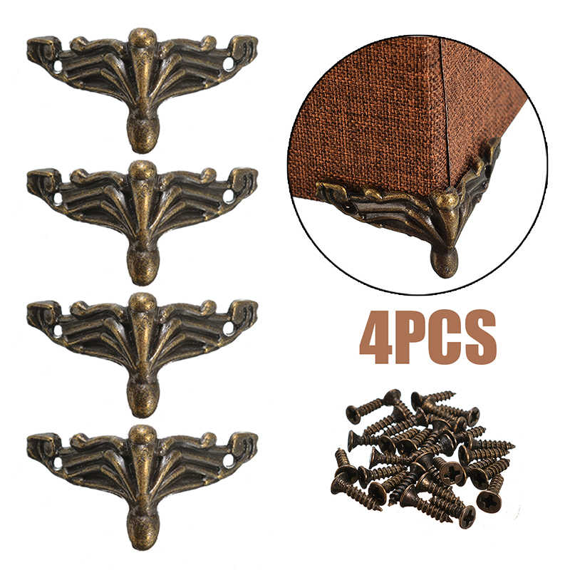 4Pcs/Set Hardware Antique Brass Jewelry Gift Box Wood Case Decorative Feet Leg Corner Protector