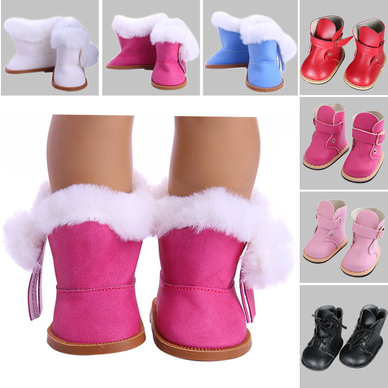 Doll Shoes Plush Winter Snow Boots For 18 Inch American &43 Cm Baby Doll Accessories Our Generation Girl`s Toy Christmas Gifts
