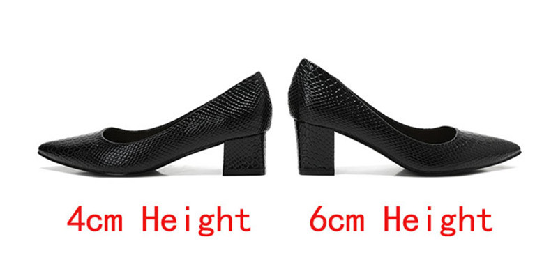 2020 New Women's Pumps Shoes Thick Heels Single Female Pumps Shoes Woman Korean Crocodile Pattern Leather Office Lady Work Shoes (25)