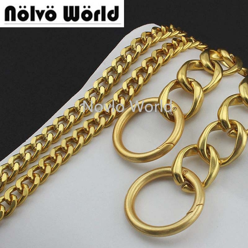 1-5-10 Pieces,11mm Alumium Chain Plus 24mm Big Alloy Rings With Spring Gate Ring For New Bags Purse Satin Gold Chain