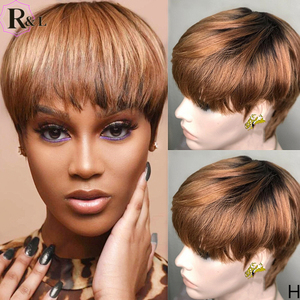 RULINDA Ombre Colored Lace Front Human Hair Wigs 180% Density Short Pixie Cut Brazilian Remy Hair Lace Wigs With Bangs 13X4(China)