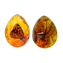 2 Pcs Fashion Natural Insects Amber Gemstone Ornament Originality Scorpions Butterfly Spider Crab Decorations with Holes Pendant(China)