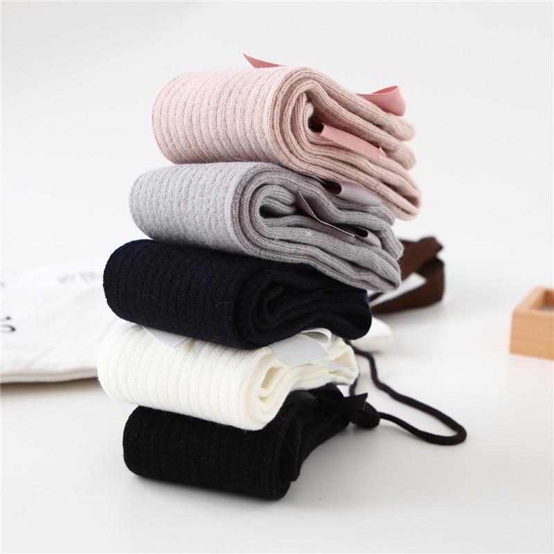 Solid Children Socks With Bows Cotton Baby Girls Socks Soft Toddlers Long Socks For Kids Princess Knee High Socks for Girls 2020 5
