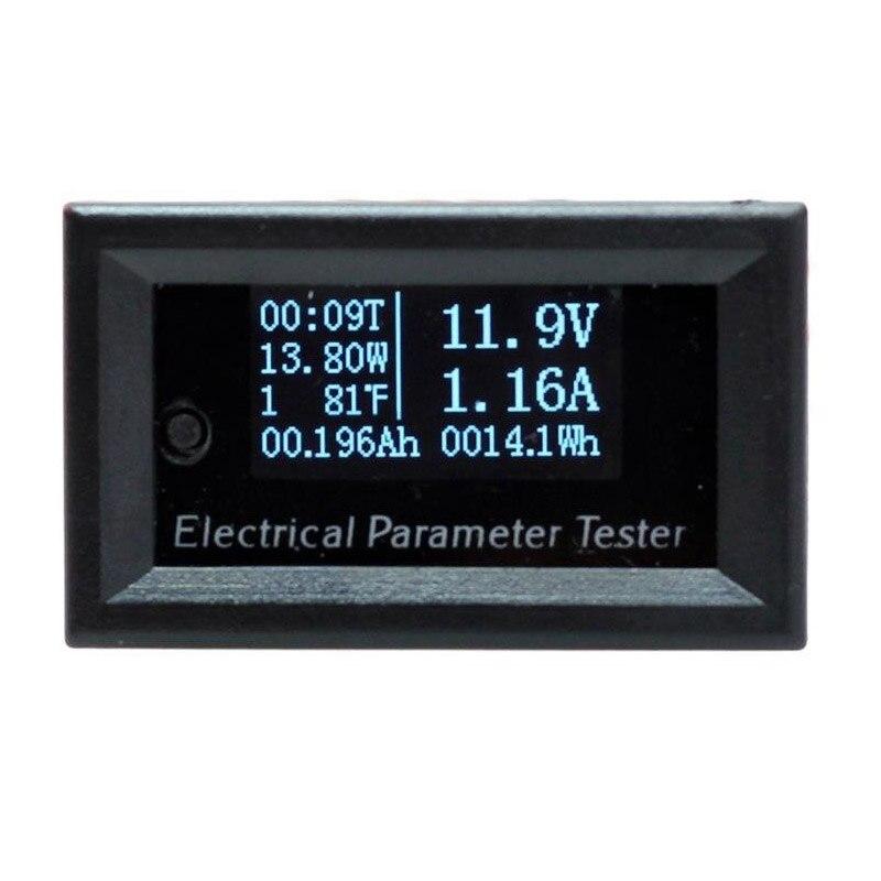 Aletler'ten Voltaj Ölçerler'de 1 adet 7in1 OLED çok fonksiyonlu DC 100V 10A Mini dijital akım voltmetre güç enerji Watt ölçer multimetre ampermetre voltmetre title=