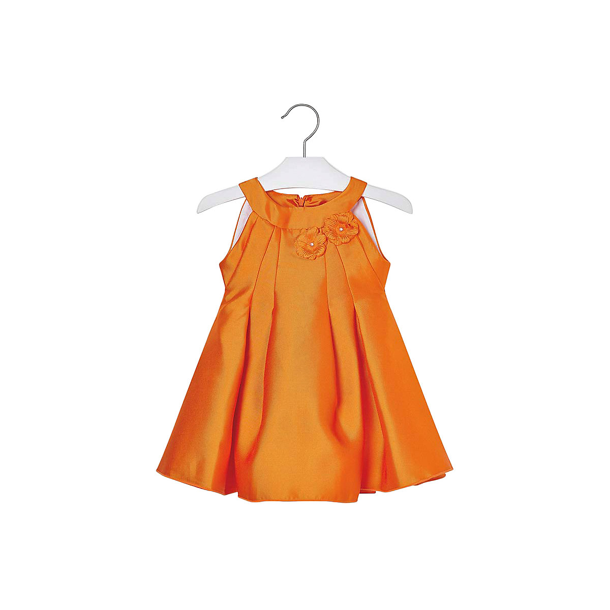 MAYORAL Dresses 10687136 Girl Children Party fitted pleated skirt Orange Polyester Preppy Style Solid Knee-Length Sleeveless Sleeve